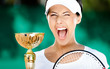 Tennis player won the cup at the sport tournament. Victory