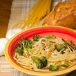Traditional Italian meal of spaghetti with broccoli
