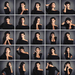 Collage of beautiful woman portrait with different expressions.