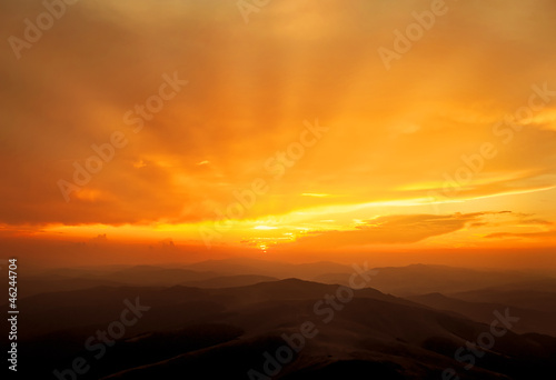 Golden sunset over the mountains