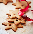 Gingerbread cookies with christmas ribbon