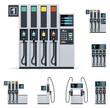 Vector gas station pumps set