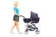 Full length portrait of a mother pushing a baby stroller