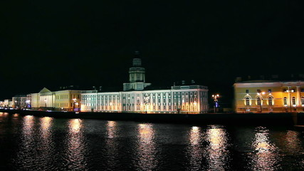 Kunstkammer on the Neva in St. Petersburg at night