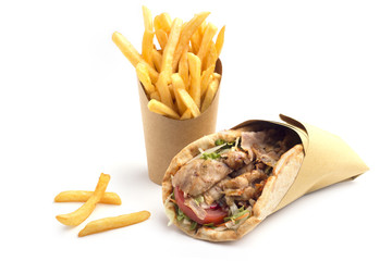 kebab sandwich with french fries