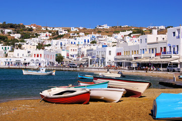 Mykonos town, view of the harbour, Greece