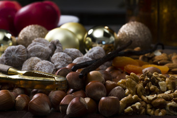 christmas food nuts dried fruits and chocolate