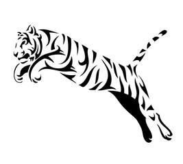 Tribal tiger jump - vector tattoo