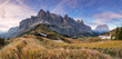 Summer view of Sella Mountain, passo Gardena