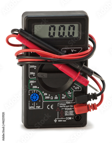 multimeter with electrical outlet on a white background