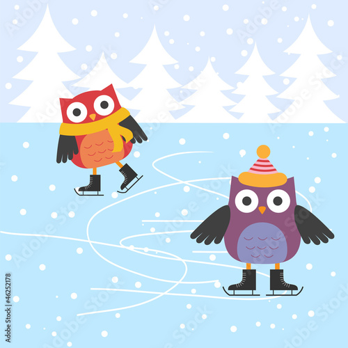 Wall mural Ice skating cute owls