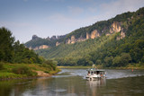 saxon switzerland - river elbe with trip boat, germany