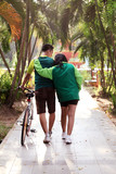 couple jogging in romantic morning at park