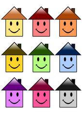 Série de maisons souriantes