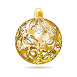 Gold Openwork Christmas ball on white background. poster