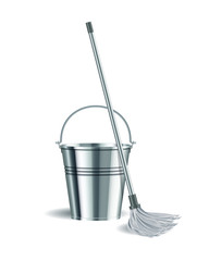 Bucket and mop on white background.