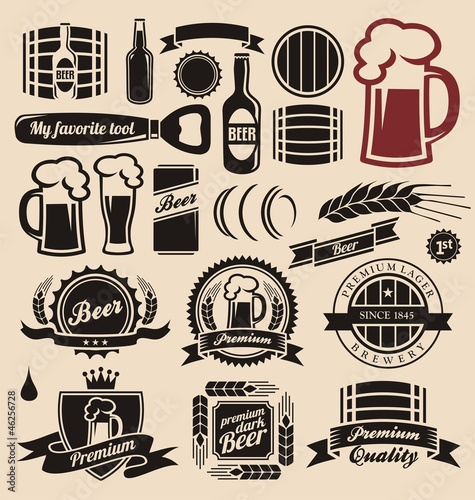 Beer icons, labels, signs, logo designs and design elements