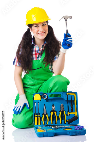 Woman with toolkit on white