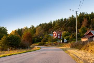 Landstraße in Schweden