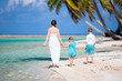 Mother and kids on a tropical island