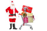 Santa Claus pushing a shopping cart full of gifts