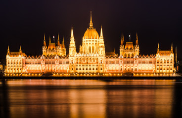 Hungarian Parliament and Danube. Night in Budapest
