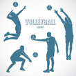 Volleyball silhouettes - vector illustration