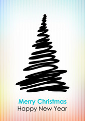 Drawn black Christmas tree on light background.