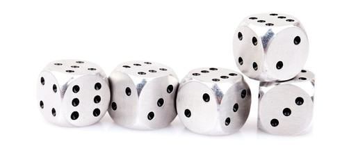 metal dice isolated on white