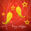 Christmas card with gold angel wings.