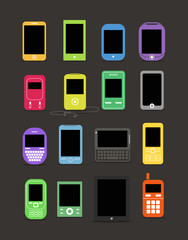 Abstract style modern and vintage mobile gadgets