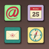 Apps icon set in textile style