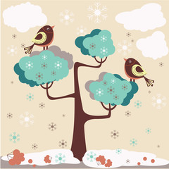Winter background - birds on a tree