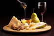 cheese, pears, honey, walnuts and wineglass