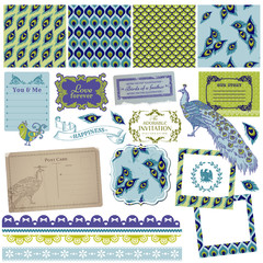 Scrapbook Design Elements - Vintage Peacock Feathers - in vector