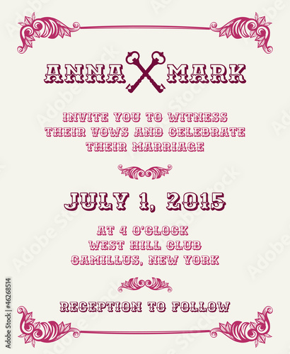 Wedding Vintage Invitation Card - in vector