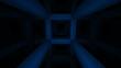 Fast night flight through dark blue abstract girder construction
