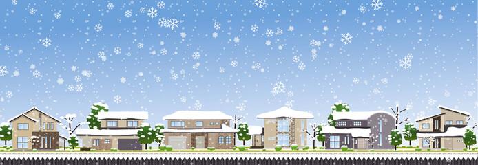 雪の町並み昼01