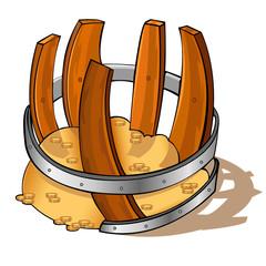 pirate barrel broken gold treasure icon isolated