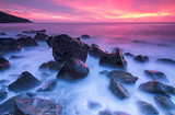 Stones in the sea at the sunset - Fine Art prints