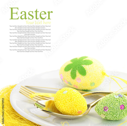 Easter table setting with eggs and cutlery - 46270953