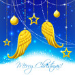Christmas card with gold angel wings and balls.