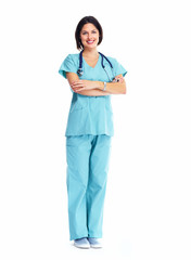 Smiling medical doctor woman with stethoscope.