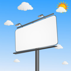 Blank commercial billboard pannel on a Sunny day.