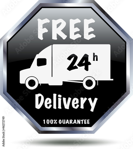 Black 24 h free delivery sign.