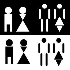 Futuristic restroom sign on black or white