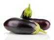 Fresh eggplants isolated on white