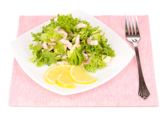 Delicious marinated shrimp in plate isolated on white