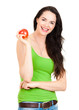 Healthy fit smiling woman holding apple