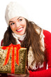 Happy amiling woman holding Christmas gift